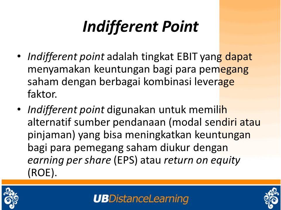 Indifferent Point Indifferent point adalah tingkat EBIT yang dapat menyamakan keuntungan bagi para pemegang saham dengan berbagai kombinasi leverage faktor.