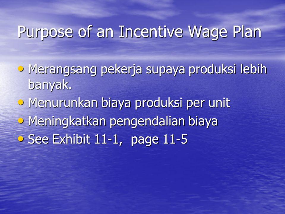TYPES OF INCENTIVE WAGE PLANS STRAIGHT PIECEWORK PLAN STRAIGHT PIECEWORK PLAN Membayar upah diatas tarif dasar untuk produksi diatas standar.