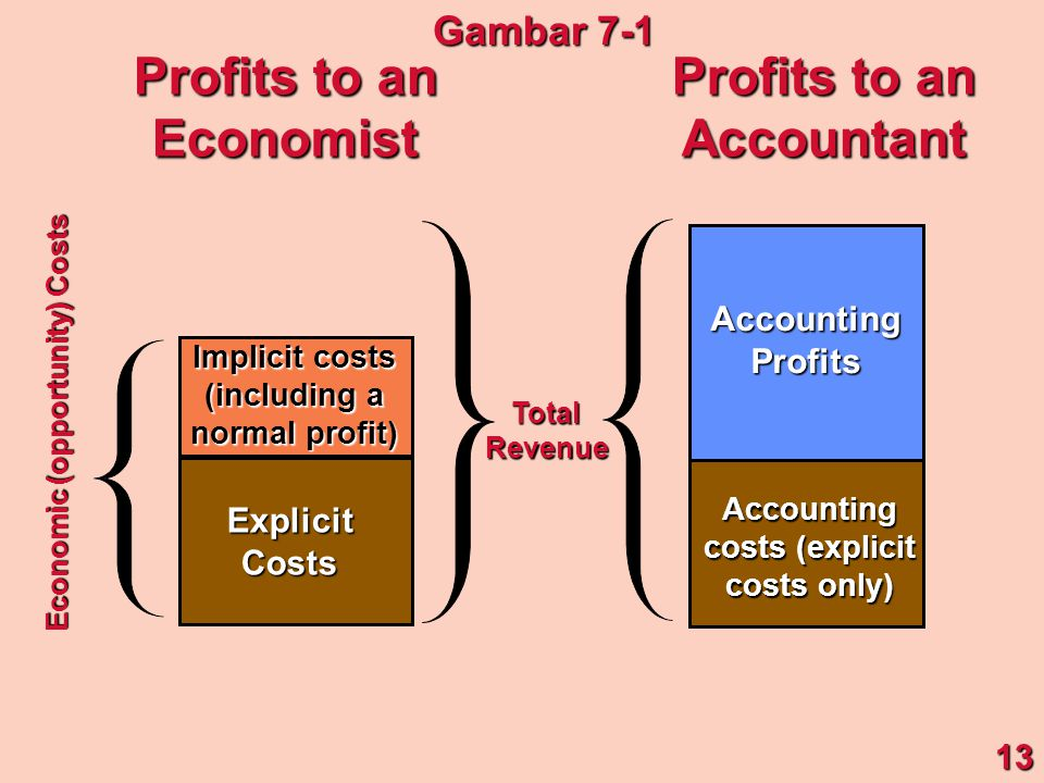 Implicit costs (including a normal profit) ExplicitCosts Accounting costs (explicit costs only) AccountingProfits Economic (opportunity) Costs TotalRevenue Profits to an Economist Accountant 13 Gambar 7-1