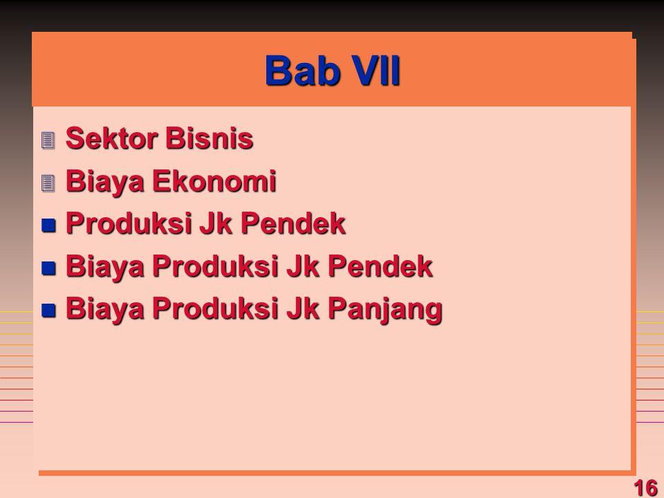 16 Bab VII 3 Sektor Bisnis 3 Biaya Ekonomi n Produksi Jk Pendek n Biaya Produksi Jk Pendek n Biaya Produksi Jk Panjang