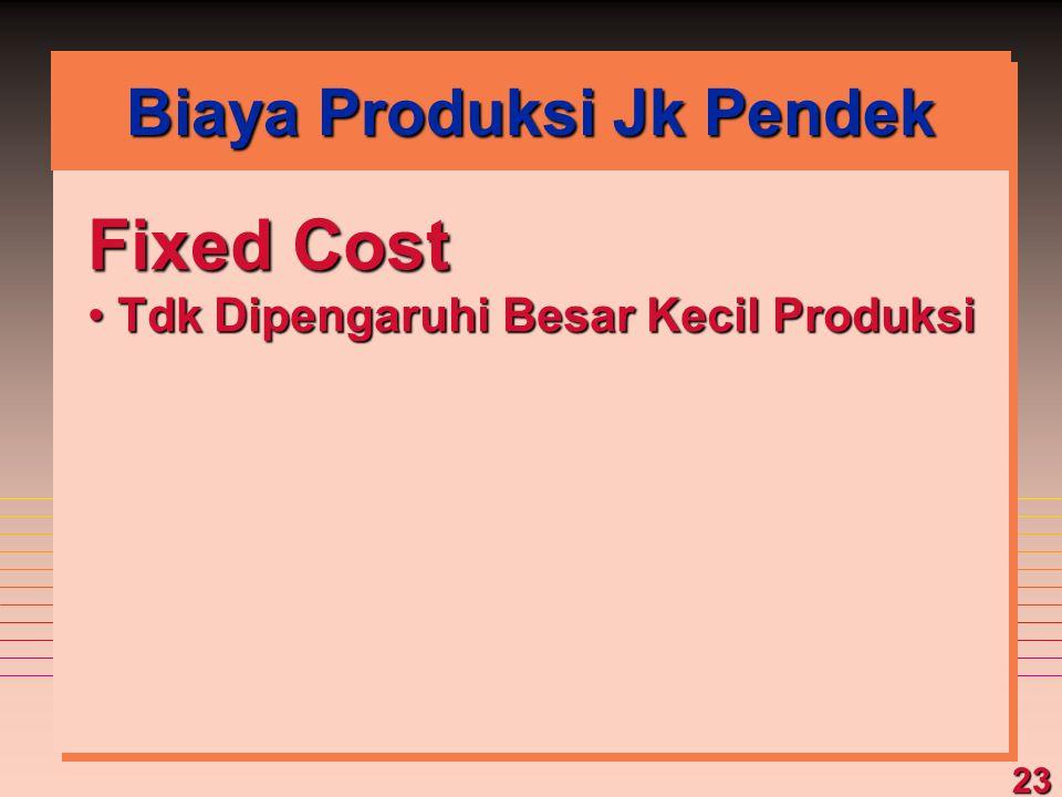 23 Fixed Cost Tdk Dipengaruhi Besar Kecil Produksi Tdk Dipengaruhi Besar Kecil Produksi Biaya Produksi Jk Pendek