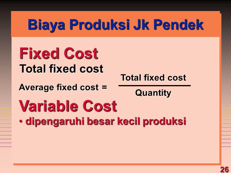 26 Fixed Cost Total fixed cost Variable Cost dipengaruhi besar kecil produksi dipengaruhi besar kecil produksi Average fixed cost = Total fixed cost Q