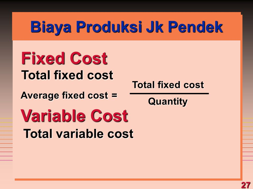 27 Fixed Cost Total fixed cost Variable Cost Total variable cost Average fixed cost = Total fixed cost Quantity Biaya Produksi Jk Pendek