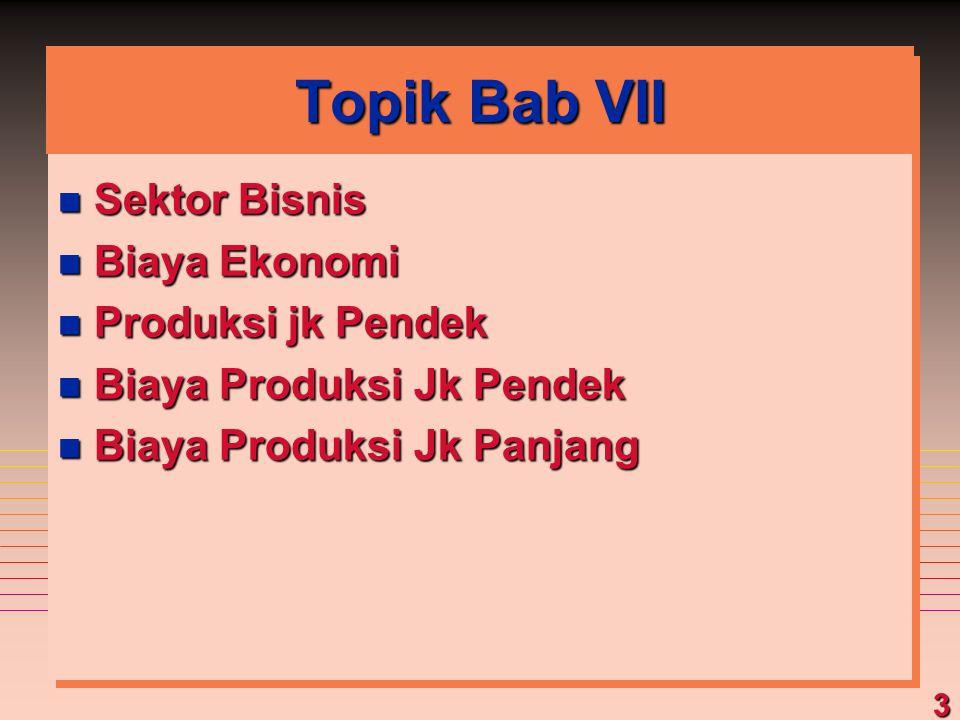 3 Topik Bab VII n Sektor Bisnis n Biaya Ekonomi n Produksi jk Pendek n Biaya Produksi Jk Pendek n Biaya Produksi Jk Panjang