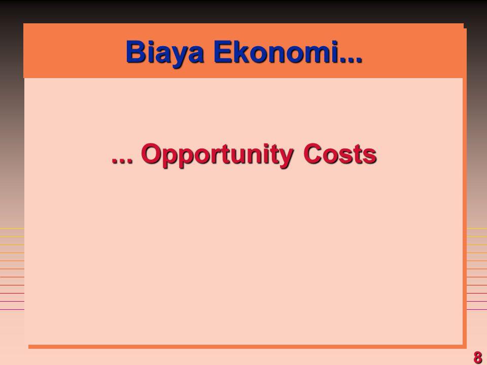 8 Biaya Ekonomi...... Opportunity Costs