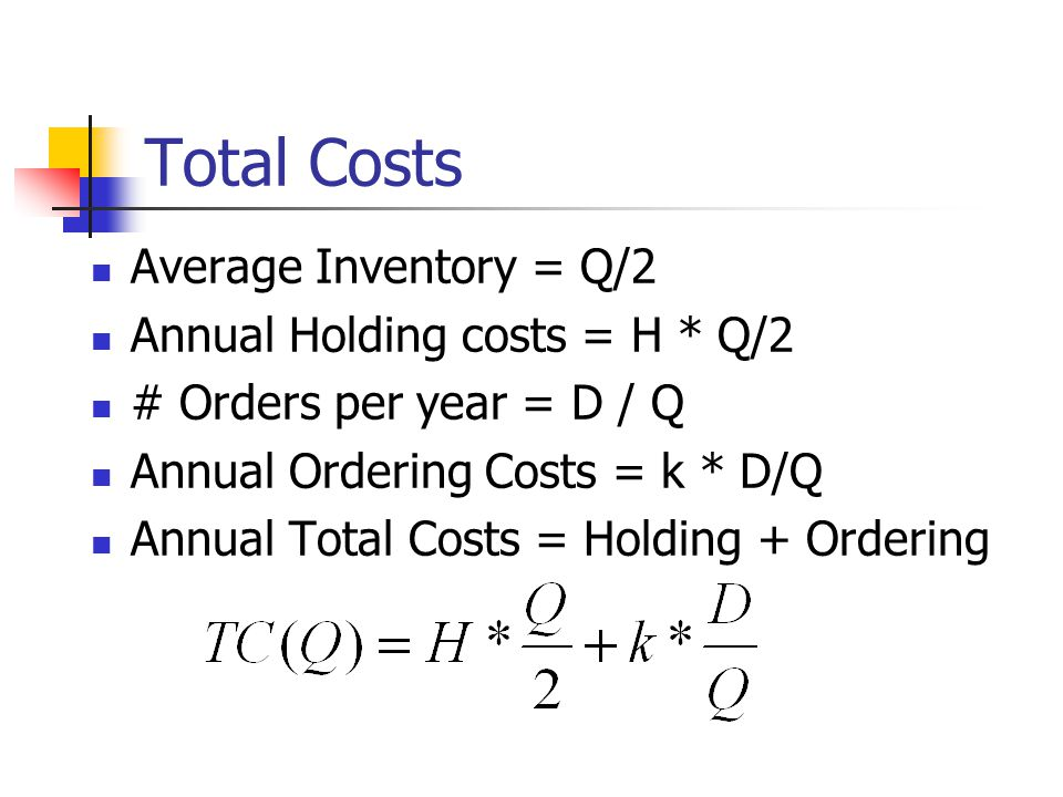 Total Costs Average Inventory = Q/2 Annual Holding costs = H * Q/2 # Orders per year = D / Q Annual Ordering Costs = k * D/Q Annual Total Costs = Holding + Ordering