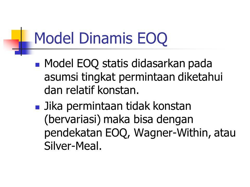 Model Dinamis EOQ Model EOQ statis didasarkan pada asumsi tingkat permintaan diketahui dan relatif konstan.