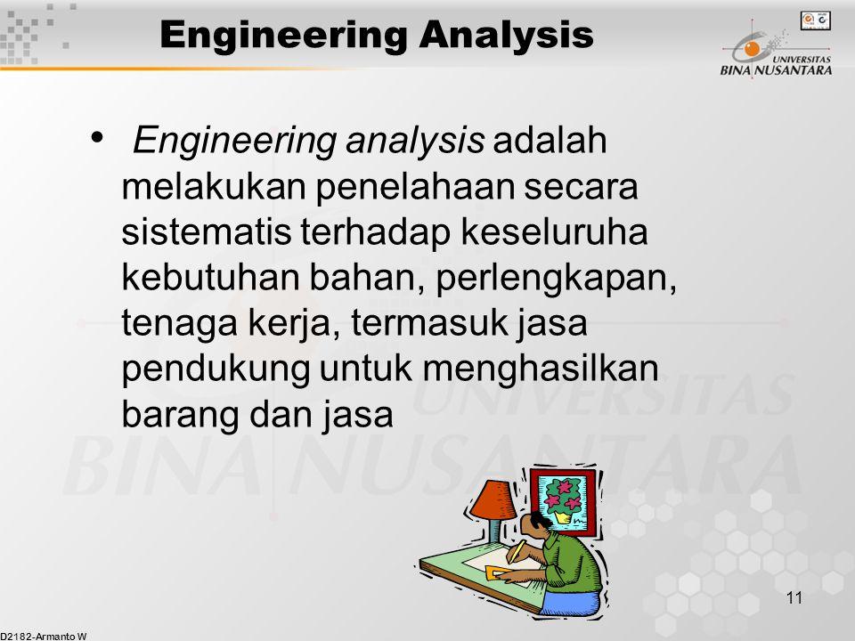 D2182-Armanto W 11 Engineering Analysis Engineering analysis adalah melakukan penelahaan secara sistematis terhadap keseluruha kebutuhan bahan, perlengkapan, tenaga kerja, termasuk jasa pendukung untuk menghasilkan barang dan jasa