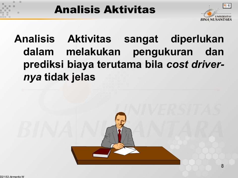 D2182-Armanto W 19 Contoh High-Low Analysis 3,750 = Fixed costs + $6.875 (500) Fixed costs = $3,750.00 - $3,437.50 Fixed costs = $312.50 Maka dengan menggunakan high-low analysis diperoleh persamaan: Total cost = $312.50 + ($6.875 x setup hours)
