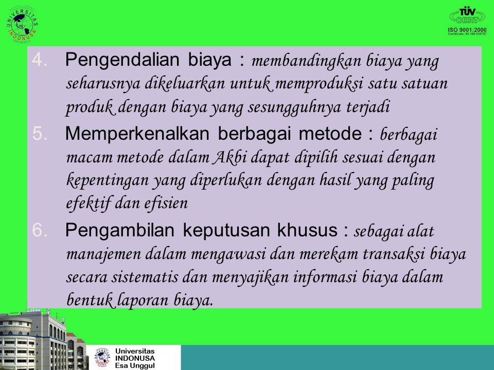 4.Pengendalian biaya : membandingkan biaya yang seharusnya dikeluarkan untuk memproduksi satu satuan produk dengan biaya yang sesungguhnya terjadi 5.Memperkenalkan berbagai metode : berbagai macam metode dalam Akbi dapat dipilih sesuai dengan kepentingan yang diperlukan dengan hasil yang paling efektif dan efisien 6.Pengambilan keputusan khusus : sebagai alat manajemen dalam mengawasi dan merekam transaksi biaya secara sistematis dan menyajikan informasi biaya dalam bentuk laporan biaya.