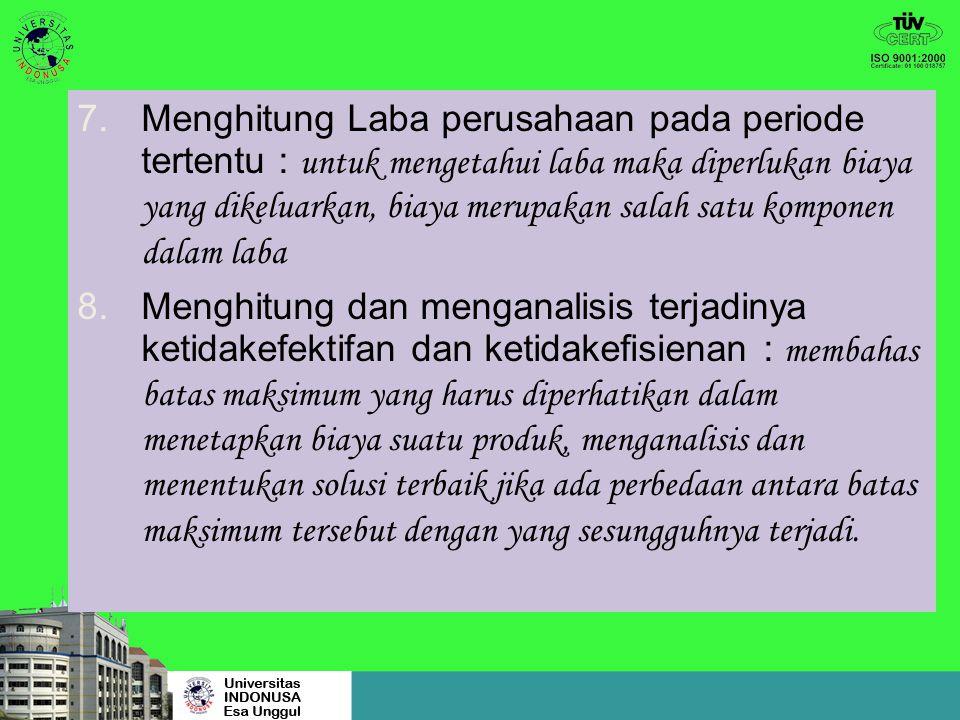 4.Pengendalian biaya : membandingkan biaya yang seharusnya dikeluarkan untuk memproduksi satu satuan produk dengan biaya yang sesungguhnya terjadi 5.M