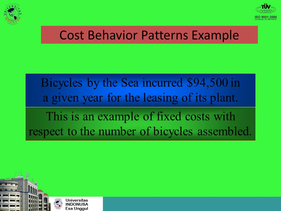 Cost Behavior Patterns Example 1,000 units × $52 = $52,000 What is the total handlebar cost when 3,500 bicycles are assembled? 3,500 units × $52 = $18