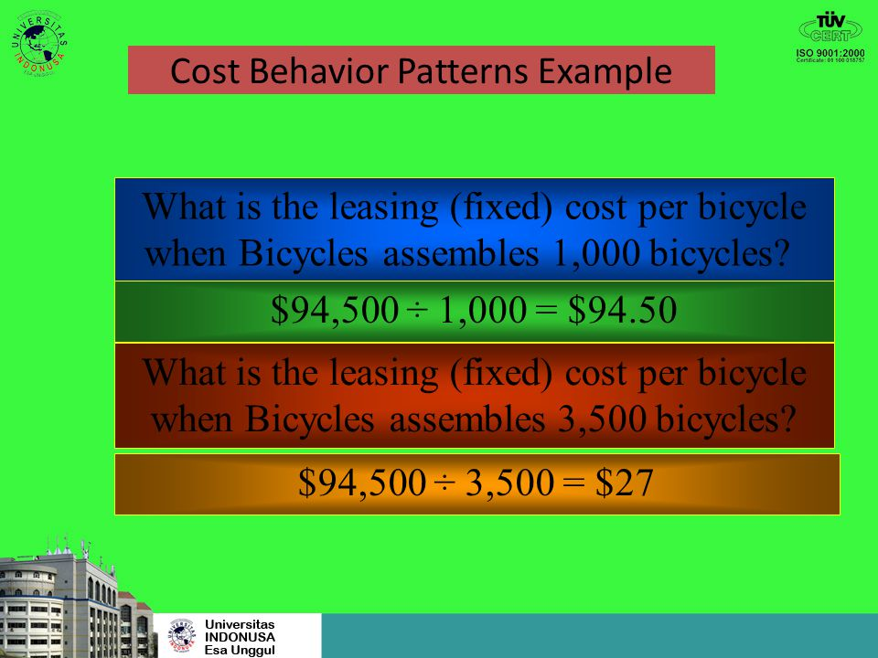 Cost Behavior Patterns Example Bicycles by the Sea incurred $94,500 in a given year for the leasing of its plant. This is an example of fixed costs wi