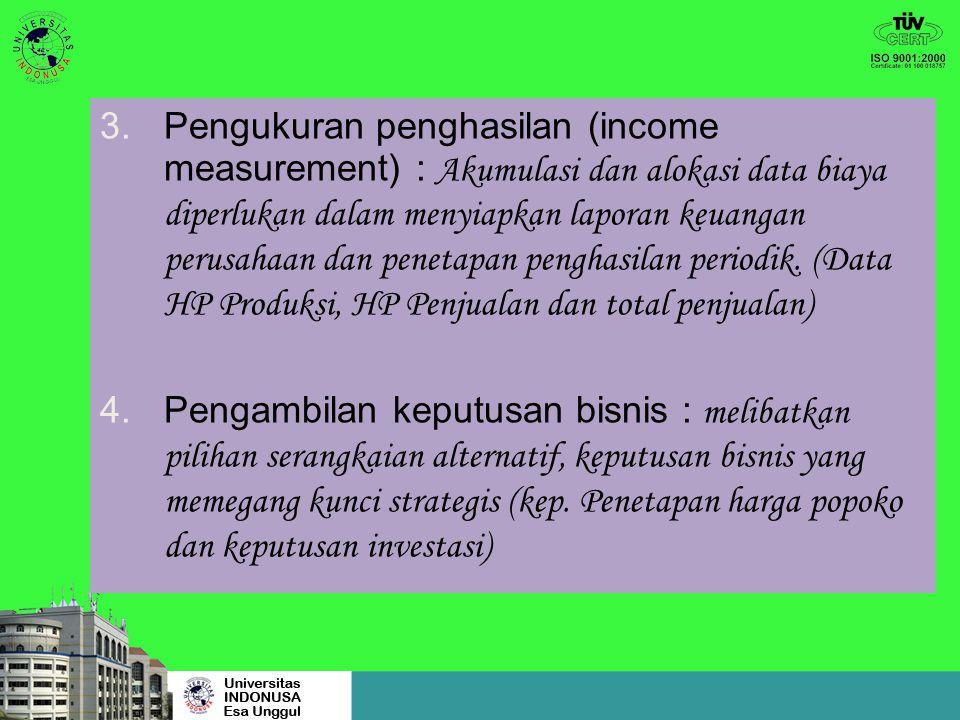 3.Pengukuran penghasilan (income measurement) : Akumulasi dan alokasi data biaya diperlukan dalam menyiapkan laporan keuangan perusahaan dan penetapan penghasilan periodik.