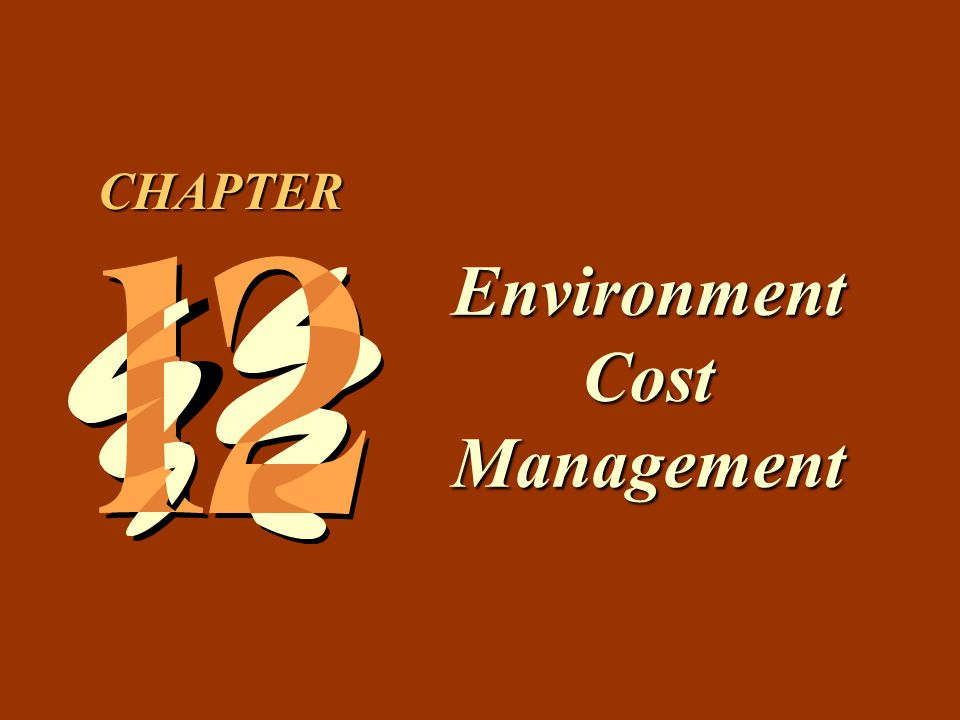 12 -12 Classification of Environmental Costs by Activity Operating pollution control equipment Treating and disposing of toxic waste Maintaining pollution equipment Licensing facilities for producing contaminants Recycle scrap Internal Failure Activities Internal Failure Activities