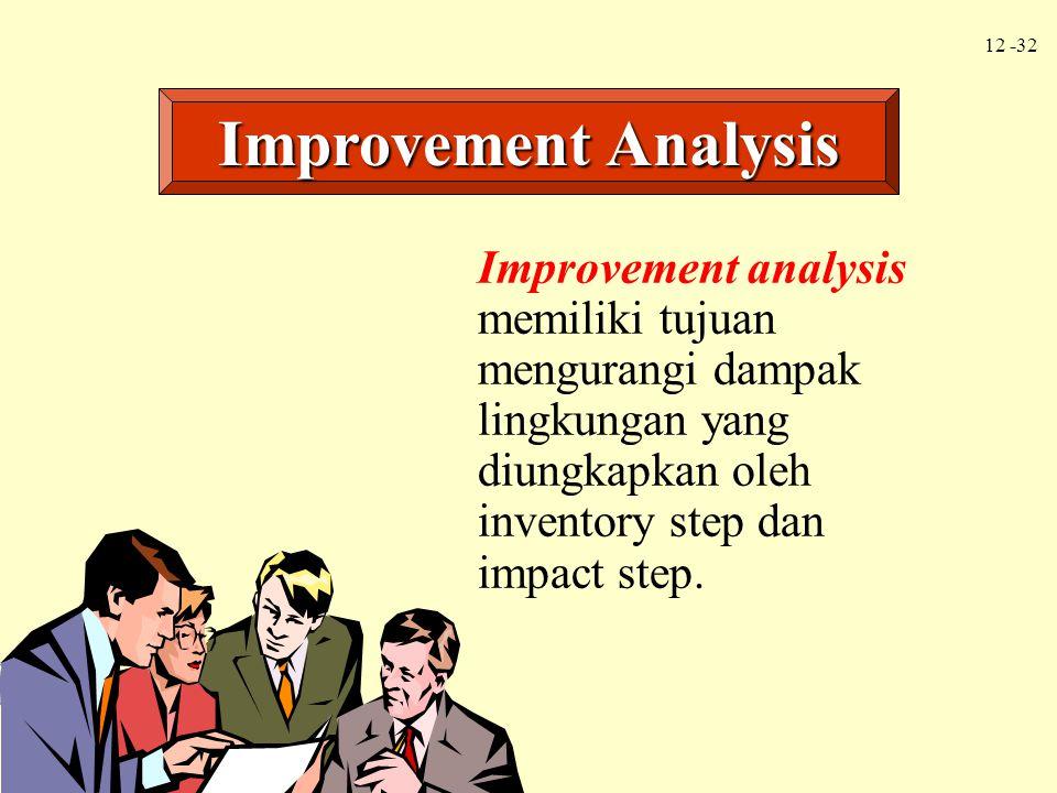 12 -32 Improvement analysis memiliki tujuan mengurangi dampak lingkungan yang diungkapkan oleh inventory step dan impact step. Improvement Analysis