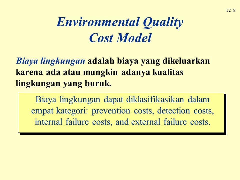 12 -9 Environmental Quality Cost Model Biaya lingkungan adalah biaya yang dikeluarkan karena ada atau mungkin adanya kualitas lingkungan yang buruk. B