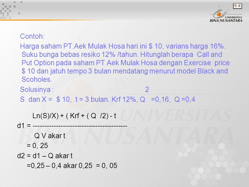 Contoh: Harga saham PT.Aek Mulak Hosa hari ini $ 10, varians harga 16%. Suku bunga bebas resiko 12% /tahun. Hitunglah berapa Call and Put Option pada