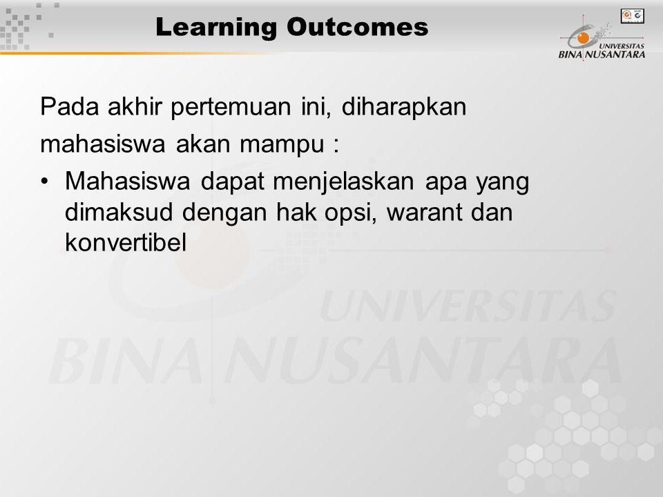 Learning Outcomes Pada akhir pertemuan ini, diharapkan mahasiswa akan mampu : Mahasiswa dapat menjelaskan apa yang dimaksud dengan hak opsi, warant da