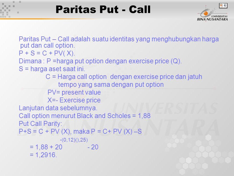 Paritas Put – Call adalah suatu identitas yang menghubungkan harga put dan call option. P + S = C + PV( X). Dimana : P =harga put option dengan exerci