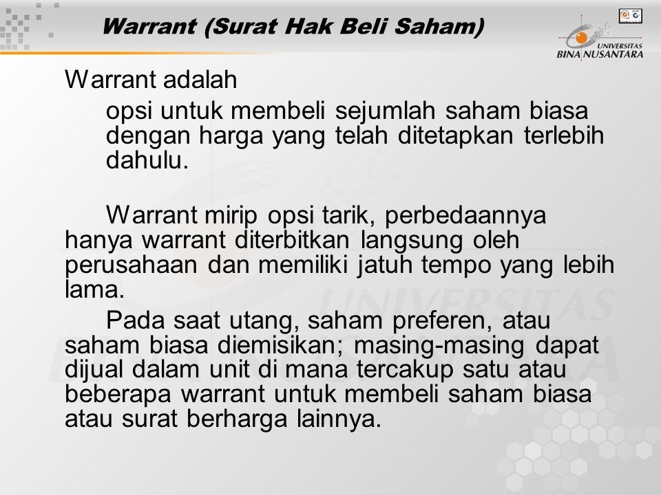Warrant (Surat Hak Beli Saham) Warrant adalah opsi untuk membeli sejumlah saham biasa dengan harga yang telah ditetapkan terlebih dahulu. Warrant miri
