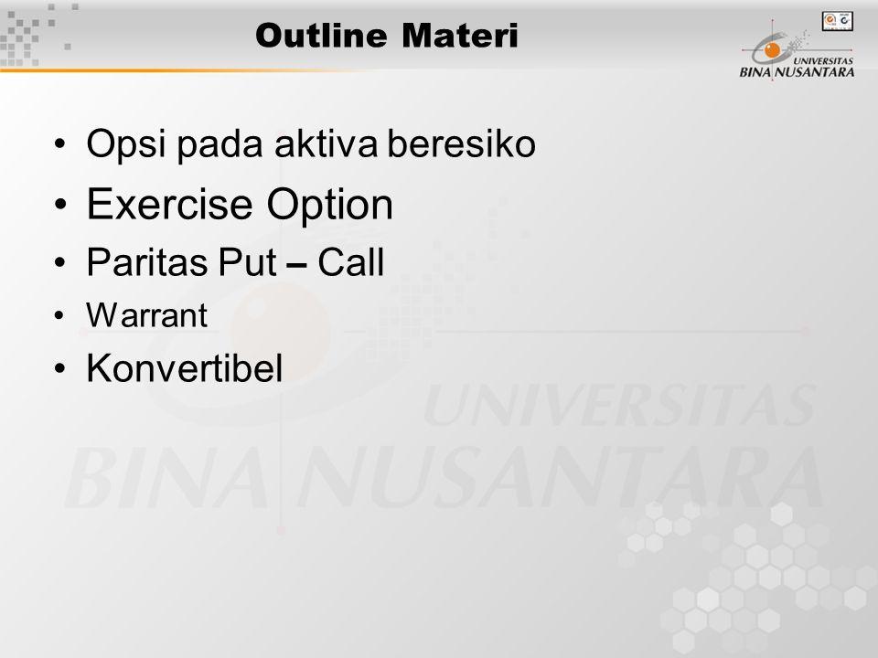 Outline Materi Opsi pada aktiva beresiko Exercise Option Paritas Put – Call Warrant Konvertibel