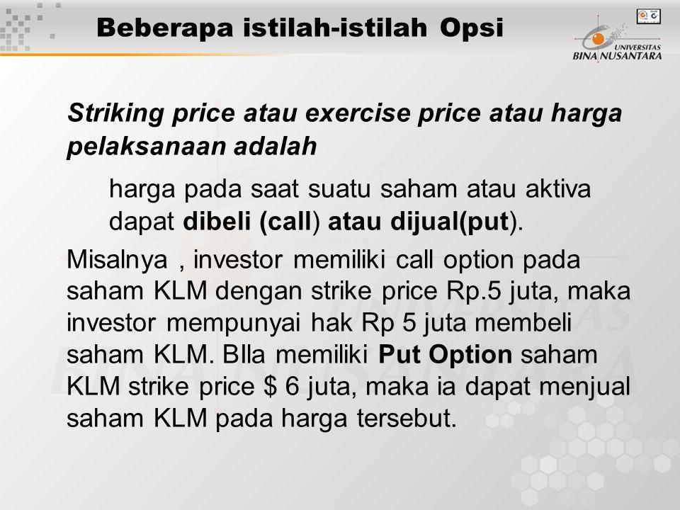 Beberapa istilah-istilah Opsi Striking price atau exercise price atau harga pelaksanaan adalah harga pada saat suatu saham atau aktiva dapat dibeli (c