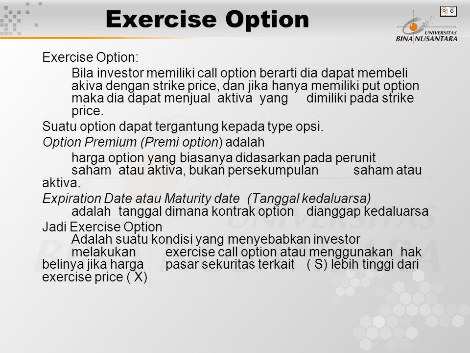 Exercise Option Exercise Option: Bila investor memiliki call option berarti dia dapat membeli akiva dengan strike price, dan jika hanya memiliki put o