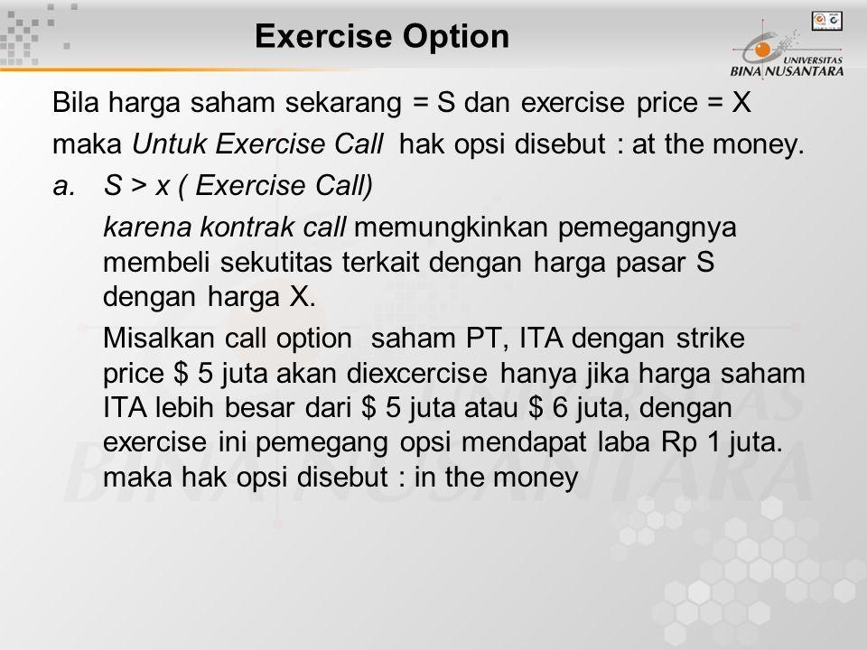 Exercise Option Bila harga saham sekarang = S dan exercise price = X maka Untuk Exercise Call hak opsi disebut : at the money. a.S > x ( Exercise Call