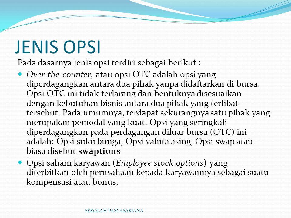 JENIS OPSI Pada dasarnya jenis opsi terdiri sebagai berikut : Over-the-counter, atau opsi OTC adalah opsi yang diperdagangkan antara dua pihak yanpa d