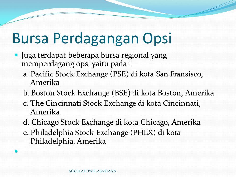 Bursa Perdagangan Opsi Juga terdapat beberapa bursa regional yang memperdagang opsi yaitu pada : a. Pacific Stock Exchange (PSE) di kota San Fransisco