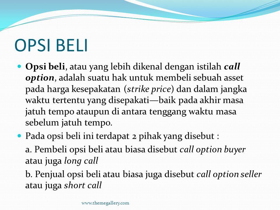 OPSI BELI Opsi beli, atau yang lebih dikenal dengan istilah call option, adalah suatu hak untuk membeli sebuah asset pada harga kesepakatan (strike pr