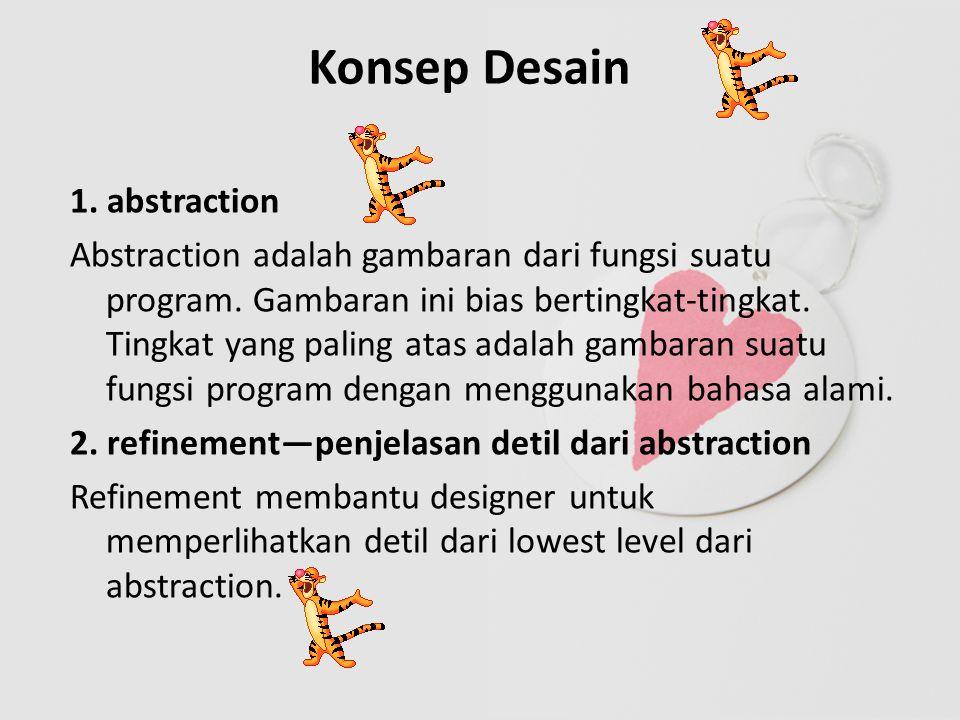 Konsep Desain 1. abstraction Abstraction adalah gambaran dari fungsi suatu program.