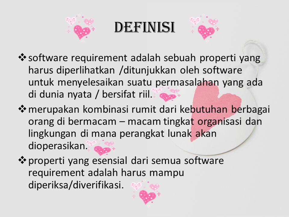 Product and Process requirement  Kebutuhan produk adalah requirement pada software untuk dikembangkan (Contohnya Software harus memeriksa prasyarat mata kuliah yang diambil mahasiswa )  Kebutuhan proses adalah batasan – batasan dalam mengembangkan software.