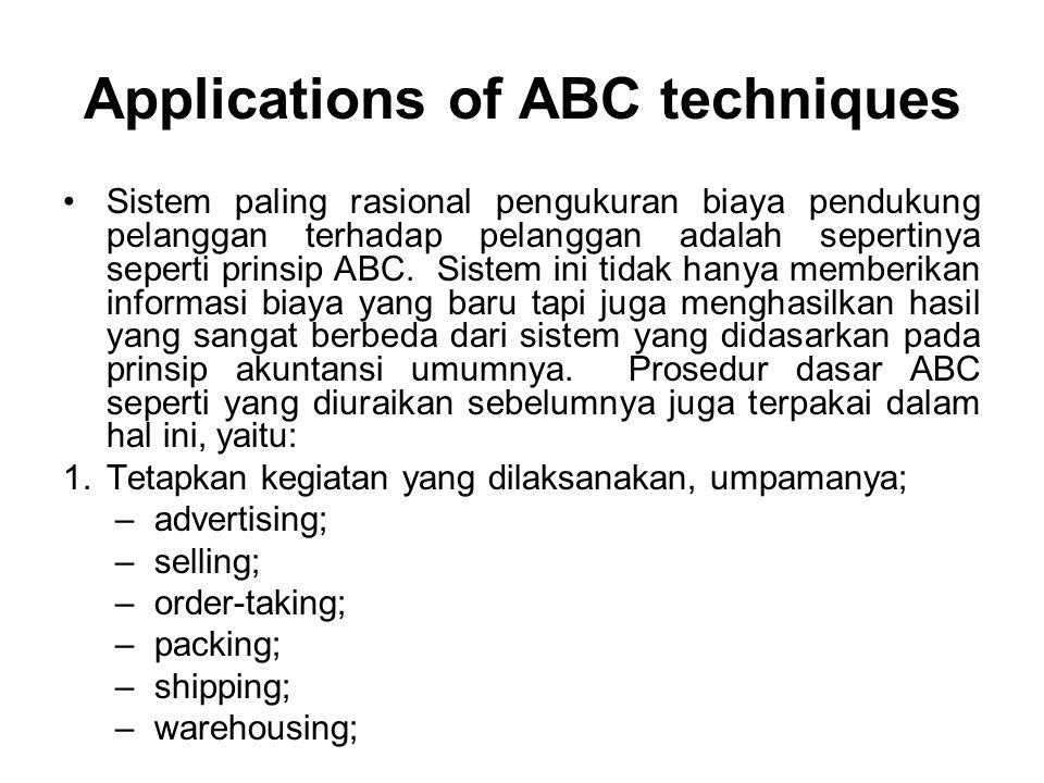 Applications of ABC techniques Sistem paling rasional pengukuran biaya pendukung pelanggan terhadap pelanggan adalah sepertinya seperti prinsip ABC.