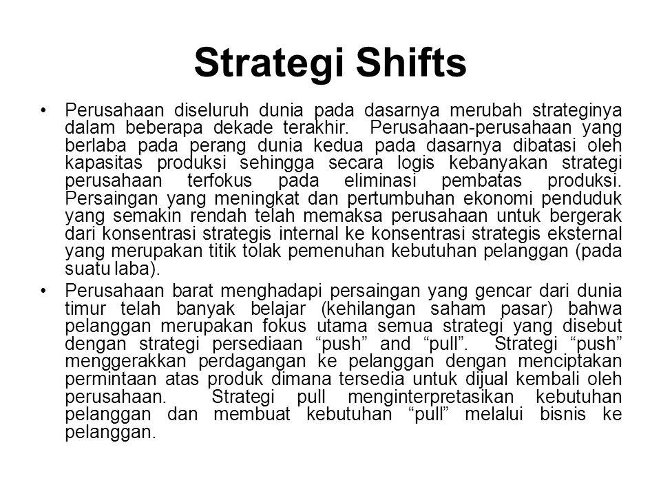 Perpindahan dalam strategi memerlukan pandangan baru pada mekanisme pelayanan pelanggan seperti adanya perbedaan dalam pemasaran dan jalur distribusi, metoda purna jual dan segmentasi pasar.