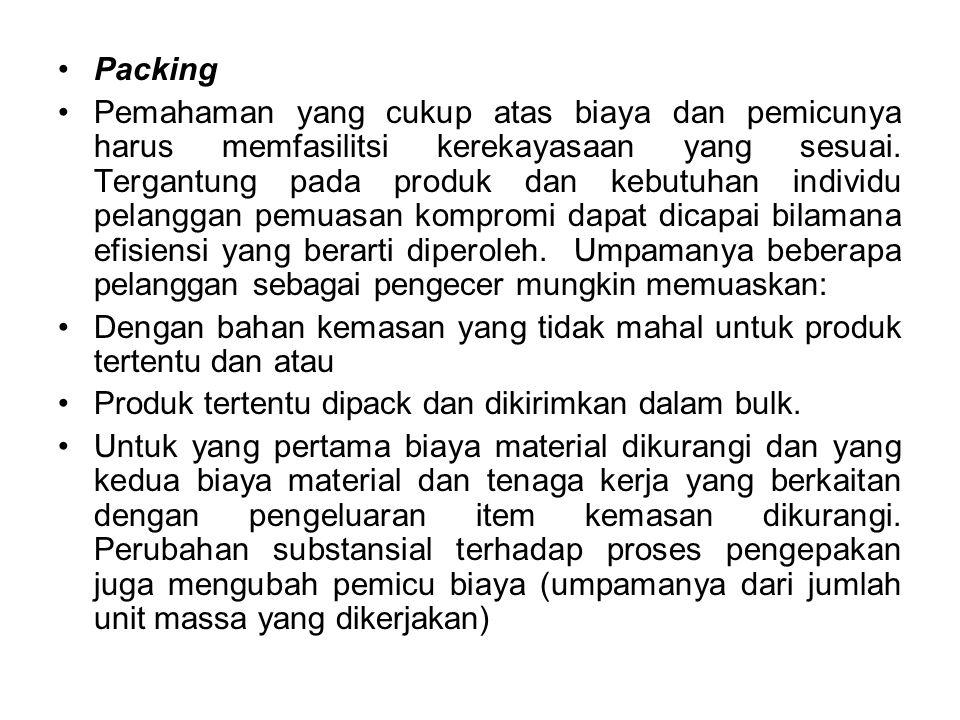 Packing Pemahaman yang cukup atas biaya dan pemicunya harus memfasilitsi kerekayasaan yang sesuai.