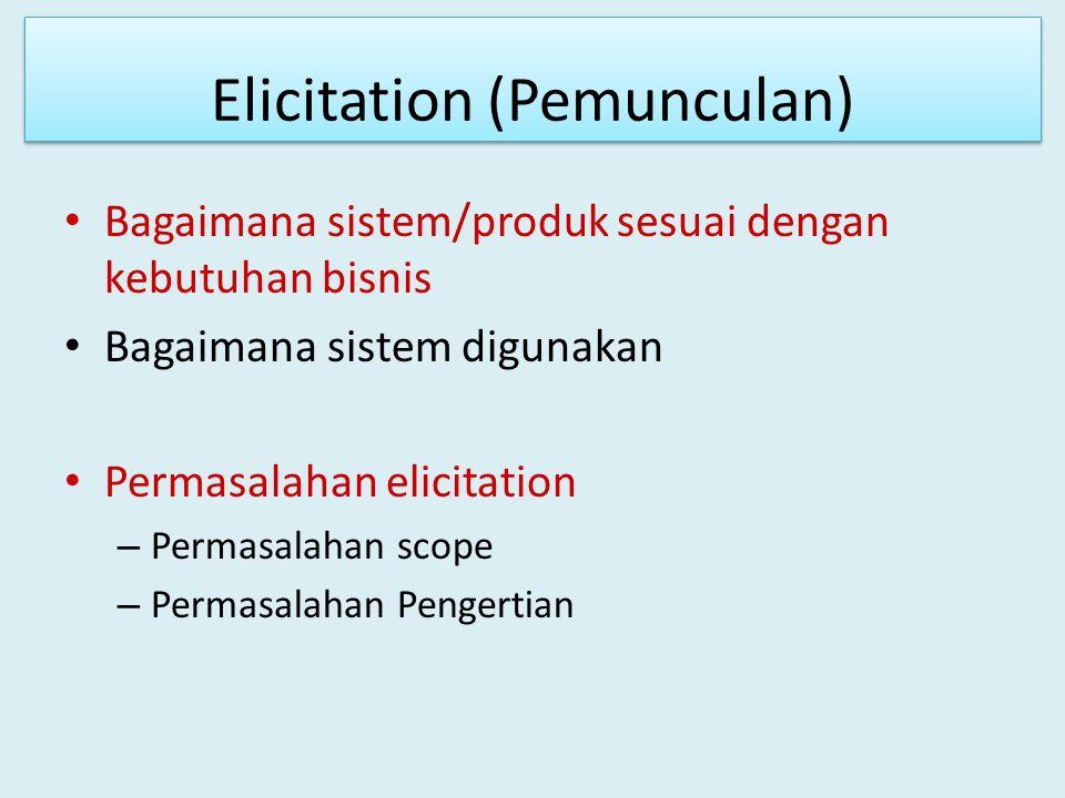 Elicitation (Pemunculan) Bagaimana sistem/produk sesuai dengan kebutuhan bisnis Bagaimana sistem digunakan Permasalahan elicitation – Permasalahan sco