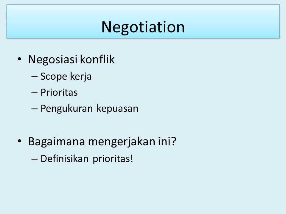 Negotiation Negosiasi konflik – Scope kerja – Prioritas – Pengukuran kepuasan Bagaimana mengerjakan ini? – Definisikan prioritas!