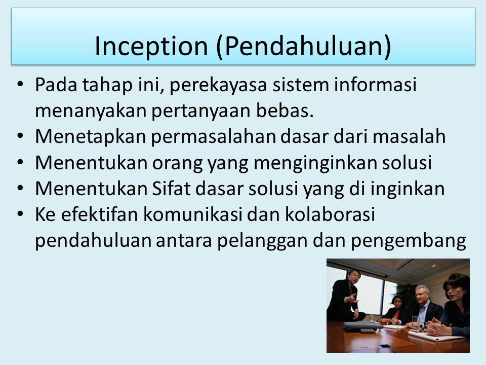 Inception (Pendahuluan) Pada tahap ini, perekayasa sistem informasi menanyakan pertanyaan bebas. Menetapkan permasalahan dasar dari masalah Menentukan