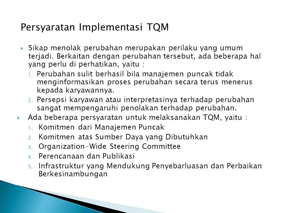 Persyaratan Implementasi TQM  Sikap menolak perubahan merupakan perilaku yang umum terjadi. Berkaitan dengan perubahan tersebut, ada beberapa hal yan