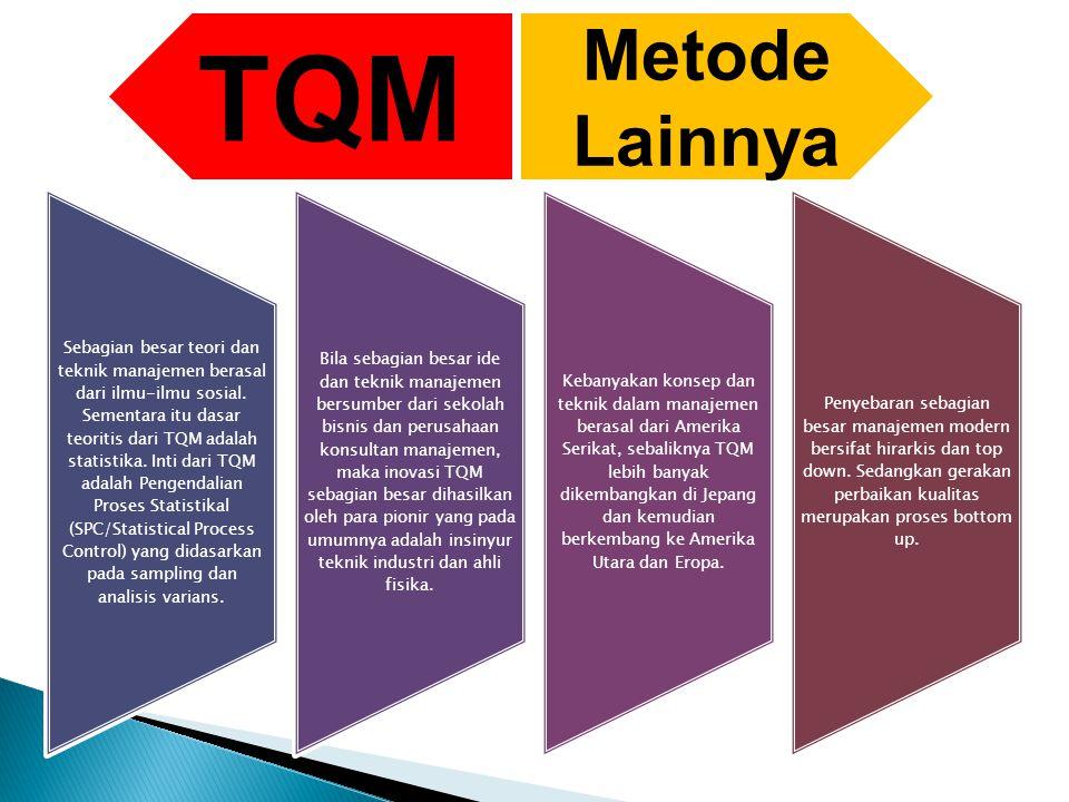 Sebagian besar teori dan teknik manajemen berasal dari ilmu-ilmu sosial. Sementara itu dasar teoritis dari TQM adalah statistika. Inti dari TQM adalah