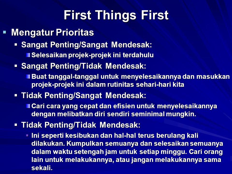  Mengatur Prioritas  Sangat Penting/Sangat Mendesak: Selesaikan projek-projek ini terdahulu  Sangat Penting/Tidak Mendesak: Buat tanggal-tanggal un