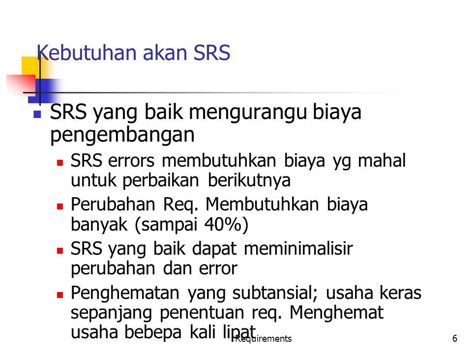 Requirements17 Komponen SRS SRS harus menspesifikasikan requirement pada Fungsionalitas Performansi Design constraints Interface Eksternal
