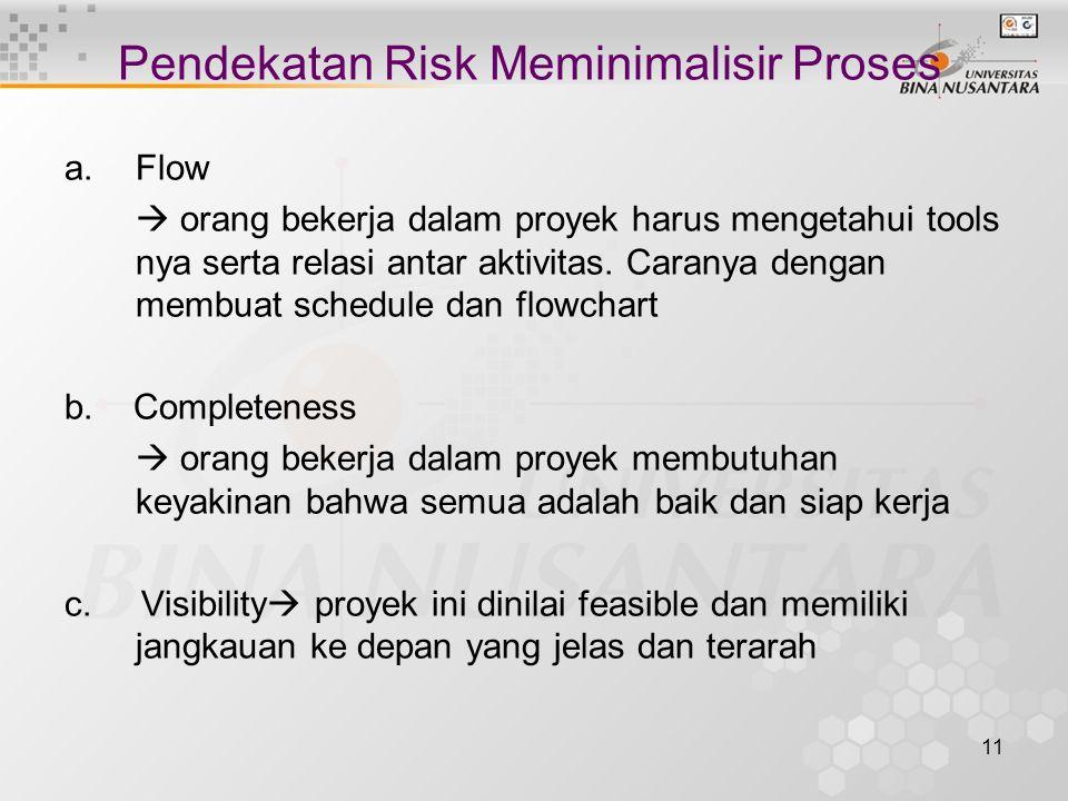 11 Pendekatan Risk Meminimalisir Proses a.Flow  orang bekerja dalam proyek harus mengetahui tools nya serta relasi antar aktivitas. Caranya dengan me