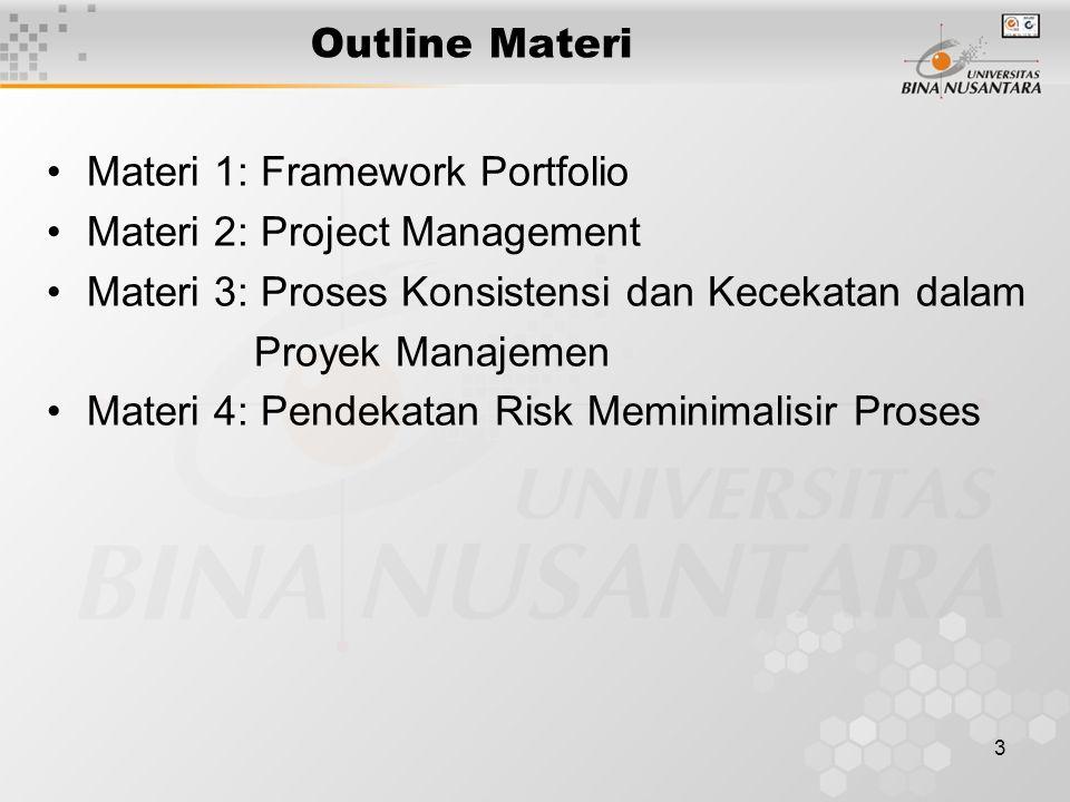 3 Outline Materi Materi 1: Framework Portfolio Materi 2: Project Management Materi 3: Proses Konsistensi dan Kecekatan dalam Proyek Manajemen Materi 4