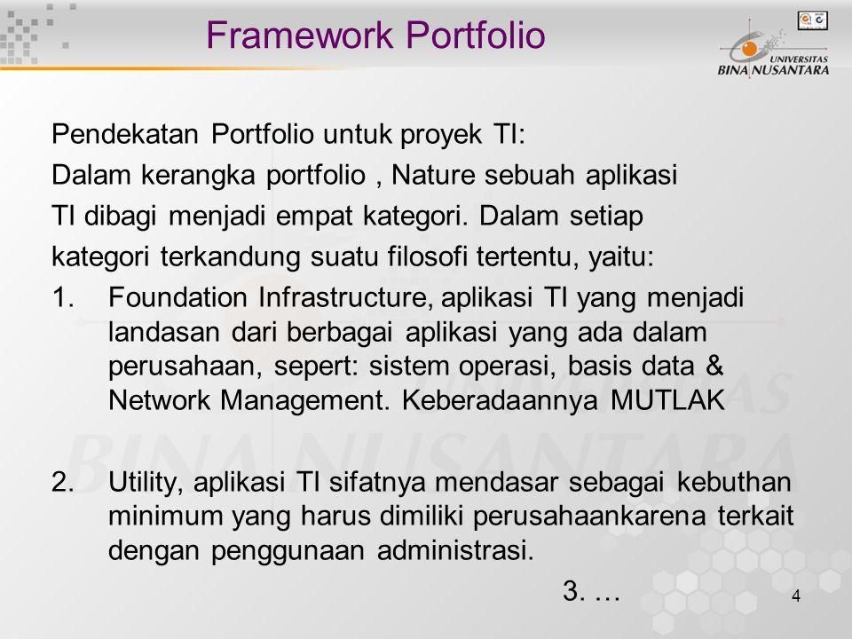 4 Framework Portfolio Pendekatan Portfolio untuk proyek TI: Dalam kerangka portfolio, Nature sebuah aplikasi TI dibagi menjadi empat kategori. Dalam s