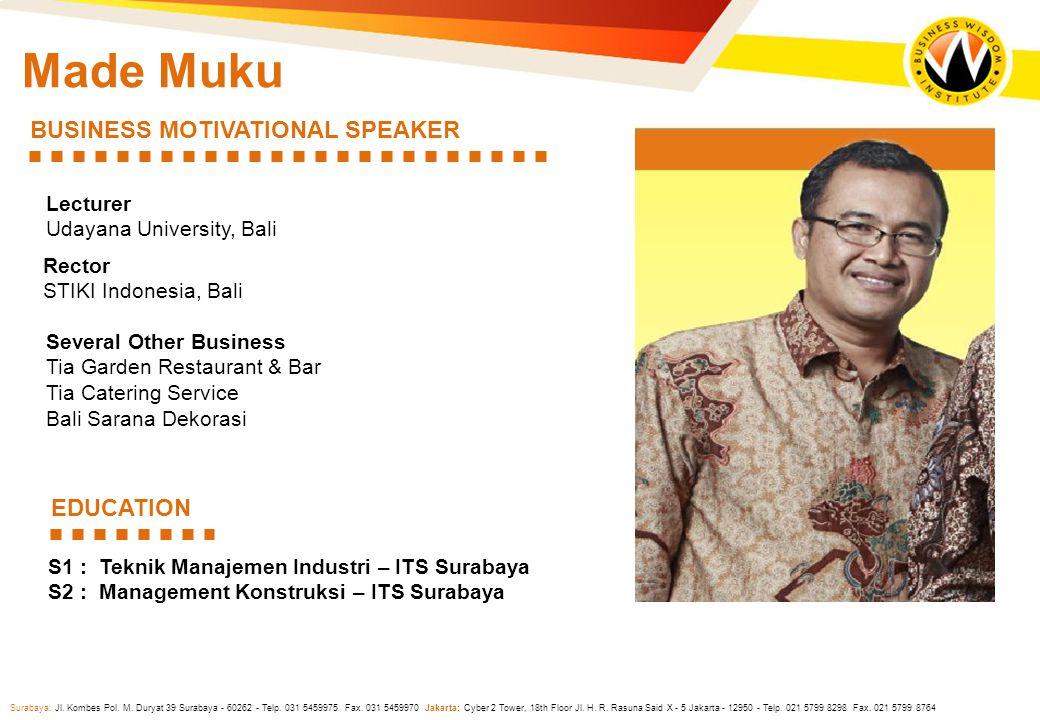 Surabaya: Jl. Kombes Pol. M. Duryat 39 Surabaya - 60262 - Telp. 031 5459975 Fax. 031 5459970 Jakarta: Cyber 2 Tower, 18th Floor Jl. H. R. Rasuna Said