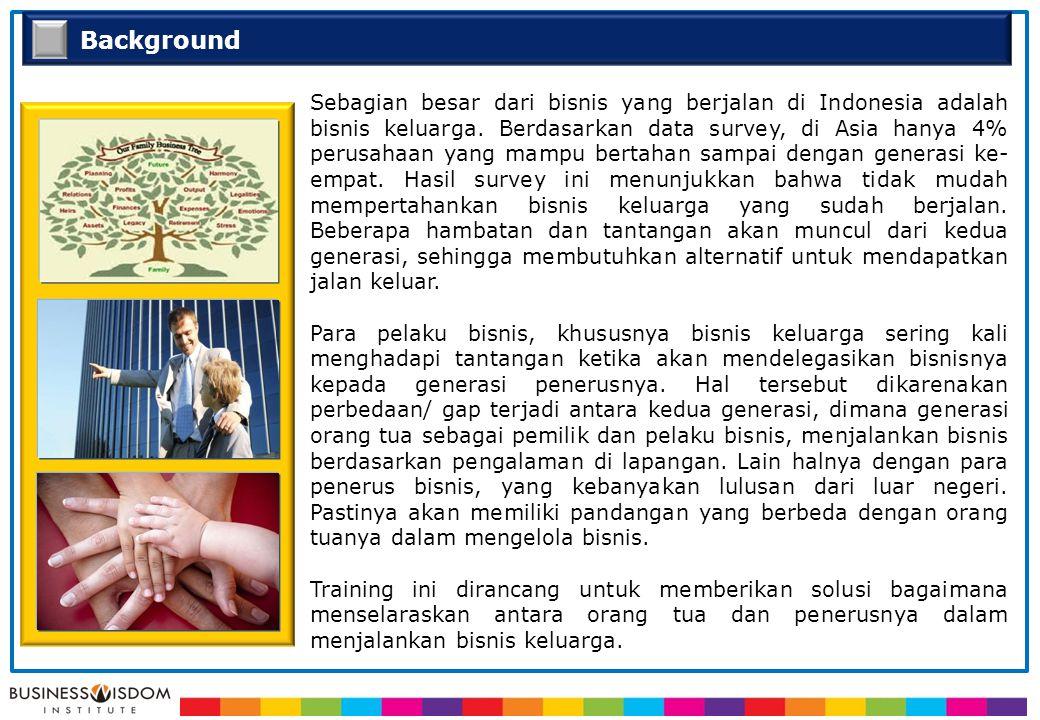 Background Sebagian besar dari bisnis yang berjalan di Indonesia adalah bisnis keluarga. Berdasarkan data survey, di Asia hanya 4% perusahaan yang mam