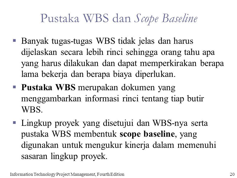 20Information Technology Project Management, Fourth Edition Pustaka WBS dan Scope Baseline  Banyak tugas-tugas WBS tidak jelas dan harus dijelaskan s